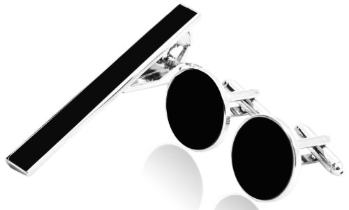 Cufflinks Set with Tie Clip for (Silver & Black Tone)