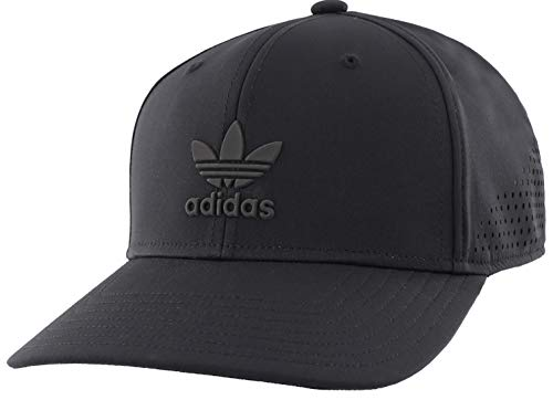 adidas Originals Men's Tech Mesh Structured Snapback Cap, Black/Black, ONE SIZE (Mens Strapback Hats)
