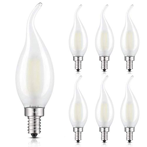 Candlestick Light Chandelier 5 (CRLight 2W Dimmable 4000K LED Candelabra Bulb Daylight (Neutral White), 25W Incandescent Equivalent 250LM, Replace 4W Compact Fluorescent CFL Bulbs, E12 C35 Frosted Glass Flame Shape Bent Tip, 6 Pack)