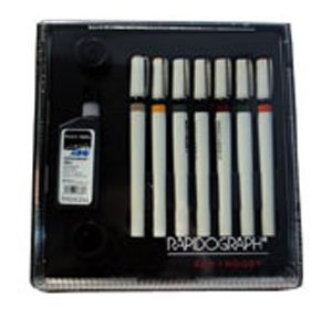 Koh-I-Noor Rapidograph 7 Pen Artists Set (3165SP7A) by Set comes in a high quality - clear faced case