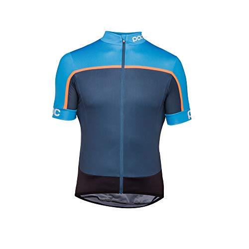 (POC Essential Road Block Jersey, Short Sleeve Cycling Jersey, Furfural Multi Blue, S)