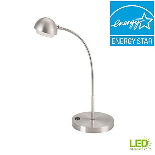 Hampton Bay 18 in. Brushed Nickel LED Table Lamp