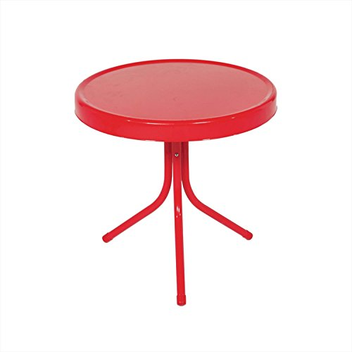 LB International 20″ Vibrant Red Retro Metal Tulip Outdoor Side Table Review