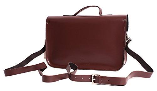 Oxbridge Satchel's - Bolso estilo cartera para mujer granate (Wine red) mediano