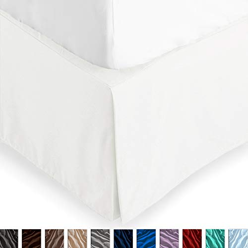 Bare Home Kids Bed Skirt Double Brushed Premium Microfiber, 15-Inch Tailored Drop Pleated Dust Ruffle, 1800 Ultra-Soft, Shrink and Fade Resistant (Twin, Warm White)