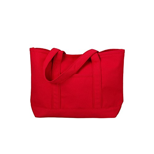Canvas Tote Beach Bag - Medium Sized Bag to Carry Beach Gear. Large Open Main Compartment With Hook-and-Loop Closure and Shoulder Straps for Easy Carrying. (Red)