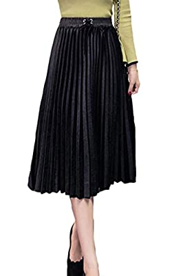 Fasumava Women Pleated Skirt Winter Elegant High Waist Skater Velour Skirts