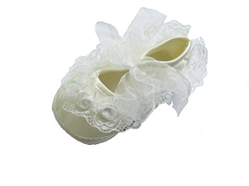 Cinda Baby Girls' Polyester Lace Flower Shoes 6-9 Mo. Ivory