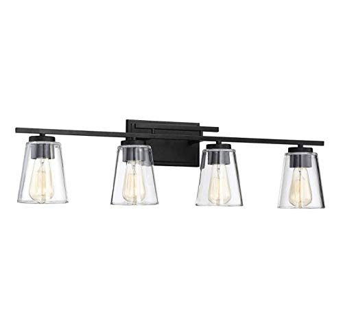 Savoy House 8-1020-4-BK Calhoun 4-Light Bathroom Vanity Light in a Black Finish with Clear Glass (32'' W x 9'' H) by Savoy House (Image #1)