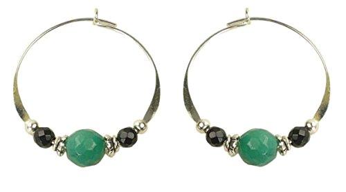 Bali Sky Medium Sterling Silver Green Black Bead Hoop Earrings SHM054 ()
