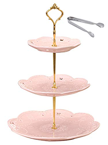 Jusalpha 3-tier Pink Ceramic Cake Stand/Cupcake Stand/Dessert Stand/Tea Party Pastry Serving Platter/Food Display, Stand, Comes In a Gift Box- Free Sugar Tong, Pink (3RP Gold)