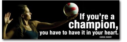 Women's Volleyball Motivational Poster, Laminated, Featuring Chris Evert Quote, If you're a champion, you