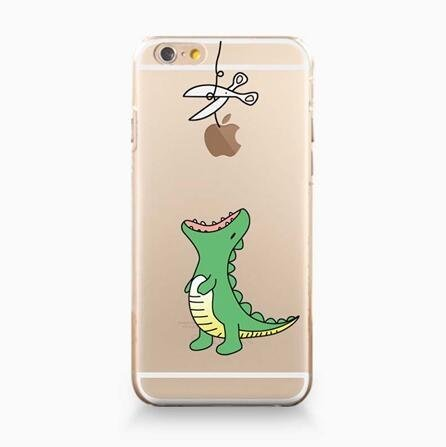 Price comparison product image iPhone 6 / 6S, DECO FAIRY Ultra Slim Translucent Silicone Clear Case Gel Cover for Apple - Cut the Rope Dino Dinosaur Eats Apple
