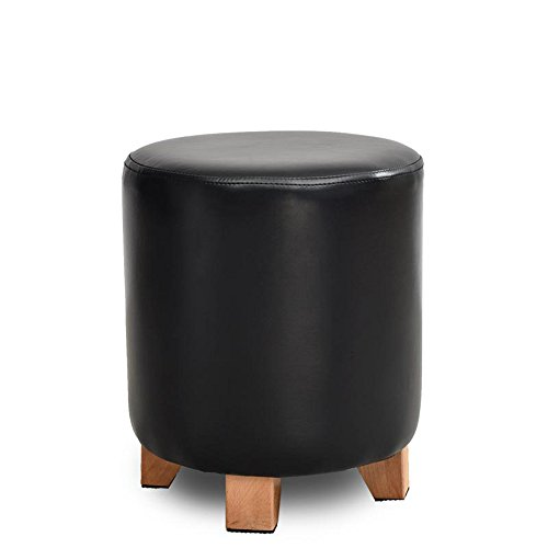 Stool - solid wood leather stool/sofa stool/personalized stool/stool/fashion dressing stool/creative shoe stool/shoe bench (four colors optional) (Color : Black, Size : 2935cm) by StoolStool