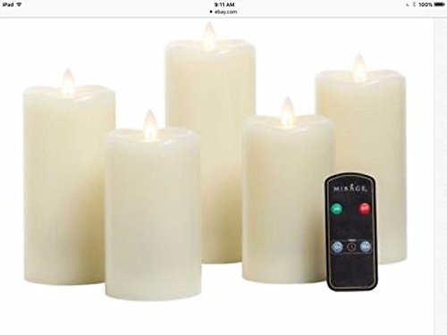 Mirage 43211-182 5 LED Wax 5 Piece Candles W/Remote, White