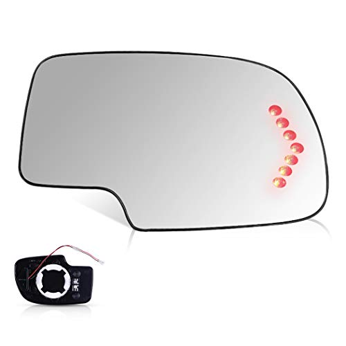 SCITOO Compatible fit for Exterior Mirror Replacement Glasses Passenger Right Side Power Heated Signal 2003-2007 Chevrolet Silverado Suburban GMC Sierra Yukon Replacement Tow Mirror