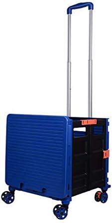 折りたたみビーチワゴン 収穫台車・キャリー 48Lポータブルショッピングトロリーカート、 4輪折りたたみ収納ボックス 多機能食料品ショッピングカート 休憩スツール、 積載量:150kg、 L40 * W36 * H105.5CM (Color : Blue)