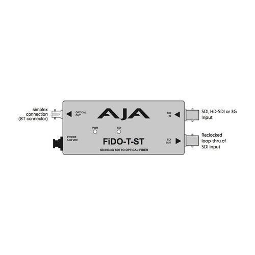 AJA FiDO-T-ST Single Channel Optical Fiber SDI to ST Fiber Converter with Looping SDI Output Aja Dwp Power Supply