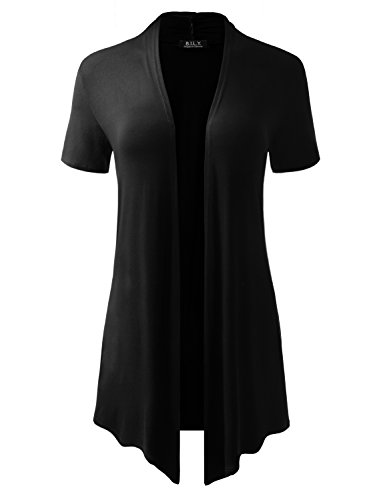 (BH B.I.L.Y USA Women's Short-Sleeve Open Front Drape Cardigan with Side Pockets Black X-Large)