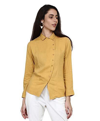 Meraki Mustard Solid Linen Stretch Boxy Shirt