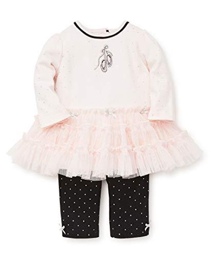 Little Me Baby Girls Tutu Legging Set, Ballet Barely Pink/Silver/Jet Black, 3 Months