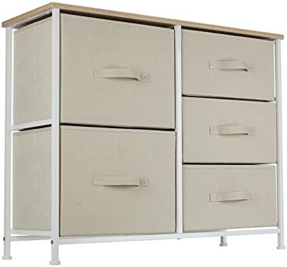 Ornavo Home 5 Drawer Wide Storage Dresser Tower – Maple Wood Top – Sturdy Metal Frame – Linen Fabric Storage Bins with Pull Tabs – Organizer Unit for Hallway, Entryway, Closets and Bedroom – Beige