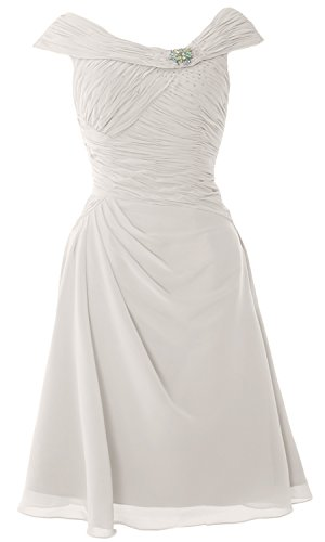 Elfenbein MACloth Short of Mother Neck Dress Dress the Boat Sleeves Bride Cap Cocktail aCO7qUa
