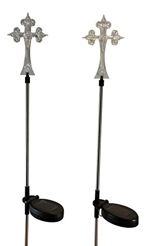 StonyCreek Solar Powered Cross Solar Light Landscape Garden Stake for Outdoor Pathway Patio, Set of 2pcs by StonyCreek