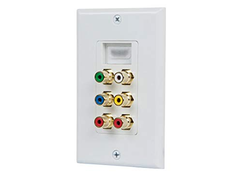 Monoprice Recessed HDMI Wall Plate, with 1 HDMI F/F Adapter & 6 RCA Connector, Gold Plated White ()