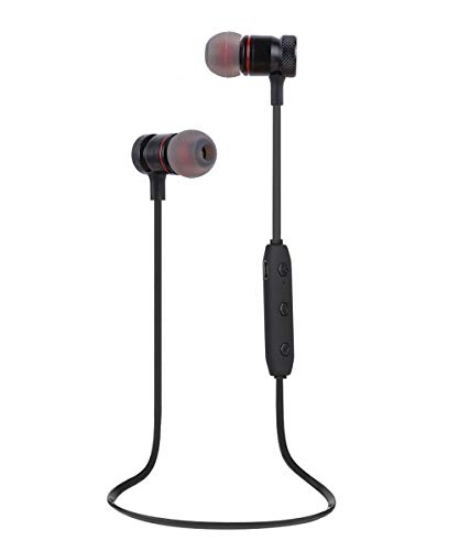 Bluetooth Headphones, Magnetic Wireless Earbuds with Build-in Microphone Sweatproof Earpiece Noise Cancelling Sports Earphones for Workout and Running (Black)