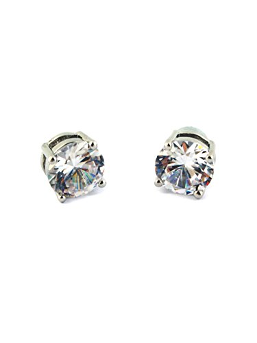 1 Pair Unisex CZ Clear Round Magnetic Clip On 4 Claws Earrings Studs, (Magnetic Round Earrings)