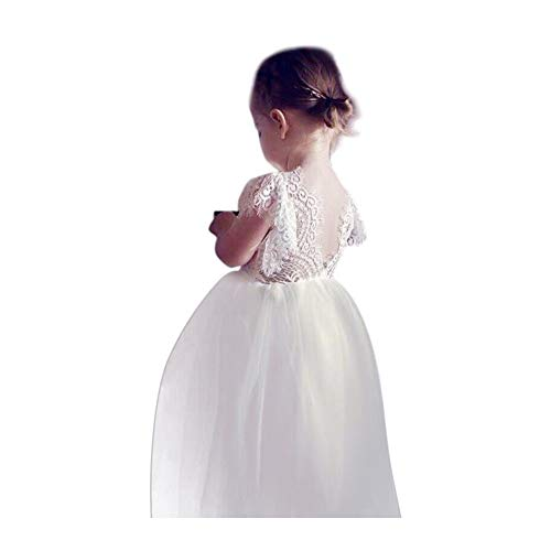 (Miss Bei Lace Back Flower Girl Dress,Kids Cute Backless Dress Toddler Party Tulle Tutu Dresses for Baby Girls Dress ! (-white3, 4-5 Years/120cm))