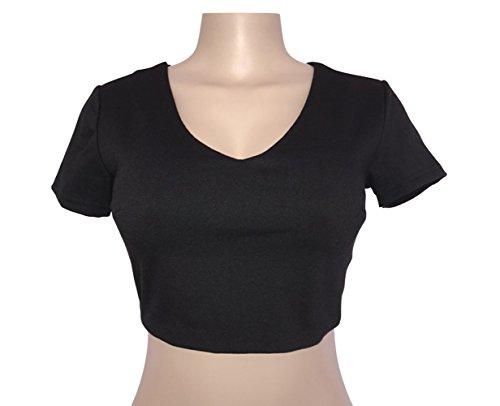 Noir Fashion Monika Nu Blouses Manches Dos Chic Femme T Col V Slim Chemisiers t Shirts Bandage Haut Courtes Crop Top rIHaRIq