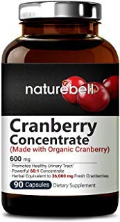 (Organic Cranberry Whole Fruit Concentrate, 90 Capsules, Equivalent to 36,000mg of Fresh Cranberries, Supports Urinary Tract Cleanse, Kidney, Bladder Health & Immune System, Non-GMO & Made in USA)