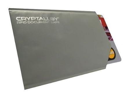 Fodero protezione dati per carte di credito senza-contattp, carte-EC-, GiroGo, schede (RFID, NFC, Chip Wireless) Rfid-Bloccanti Cryptalloy
