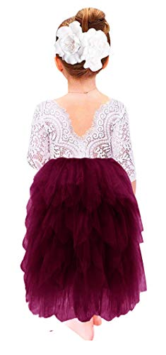 2Bunnies Girl Peony Lace Back A-Line Tiered Tutu Tulle Flower Girl Dress (Plum Long Sleeve Maxi, 4T) -