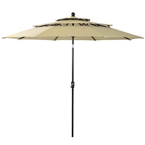 PHI VILLA 10ft 3 Tier Auto-tilt Patio Umbrella Outdoor Double Vented Umbrella, Beige (Unbrella Table)