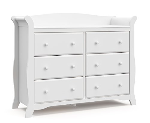 Image of the Storkcraft Avalon 6 Drawer Universal Dresser, White, Kids Bedroom Dresser with 6 Drawers, Wood and Composite Construction, Ideal for Nursery Toddlers Room Kids Room