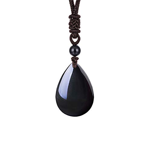 (OCARLY 925 Black Obsidian Drop Pendant with Faint Rainbow Eyes Necklace Amulet Gemstone Stainless Steel/Titaniu/925 Chain Necklace)