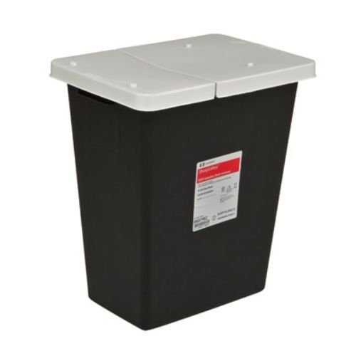 Covidien 8617RC SharpSafety RCRA Hazardous Waste Container Hinged Lid, 18 gal Capacity, Black (Pack of 5)