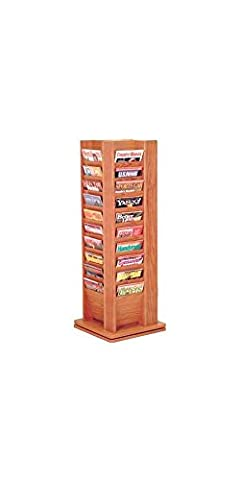 Wooden Mallet MR40-SPMH Cascade Spinning Floor Display with 40 Magazine Pockets, Mahogany - Pocket Literature Floor Display