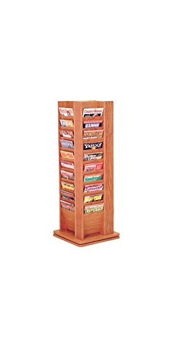 Wooden Mallet MR40-SPMH Cascade Spinning Floor Display with 40 Magazine Pockets, Mahogany