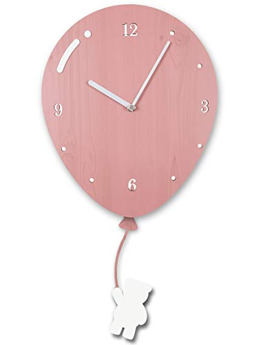 Clockwise Clocks Kids Wall Decor Clock Silent Non Ticking Bear Wood Clock for Children Baby Nursery ()