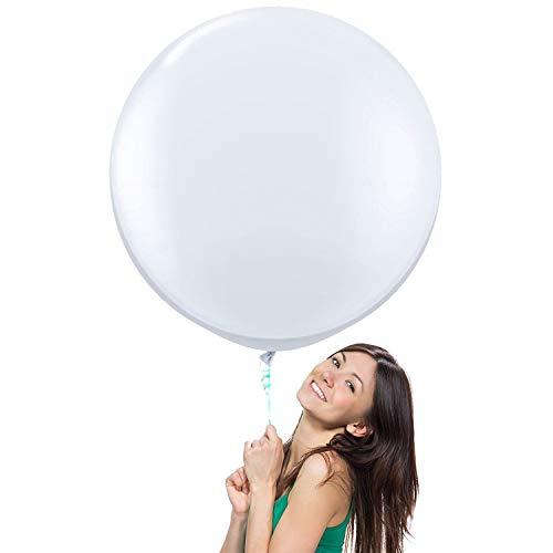 36 Inch Giant Latex Balloon Pearlescent White (Premium Helium Quality) Pkg/6 by NYKKOLA