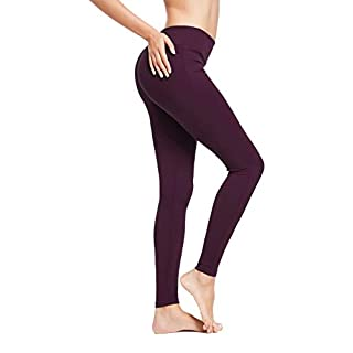 BALEAF Women's Ankle Legging Athletic Yoga Hiking Workout Running Pants Inner Pocket Non See-Through Dark Magenta Size XXL