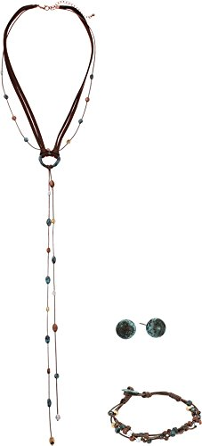 M&F Western Women's Suede and Patina Bead Three-Piece Jewelry Set Multi One (Precious Accents Toggle Clasps)