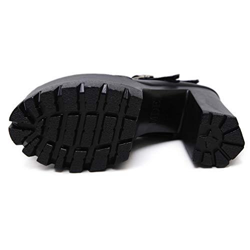Forme Casual Talon Chaussures Femme Profond Mesdames Janes 8cm Mary Pompes Rivets Noir Seul épais Peu Plate Femmes Bouche Chaussures wBvYpxqq