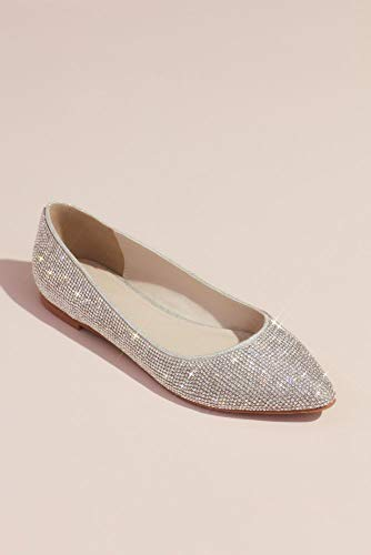 David's Bridal Allover Crystal Metallic Almond-Toe Flats Style Madelyn, Silver, 8.5