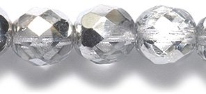 8mm Polished Glass Bead, Faceted Round, Half Coating Silver, 50-Pack ()