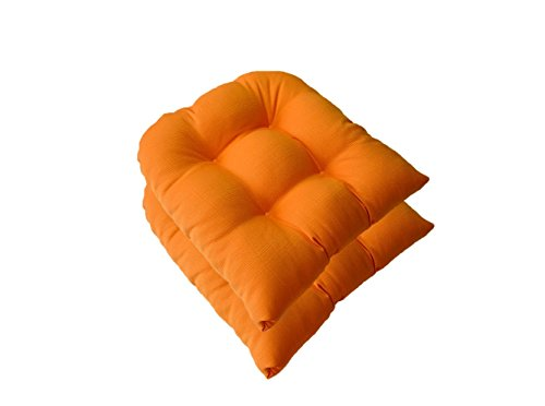 Resort Spa Home Decor Set of 2 - Universal Tufted U-Shape Cushions for Wicker Chair Seat - Woven Twill Mojo Creamsicle Orange